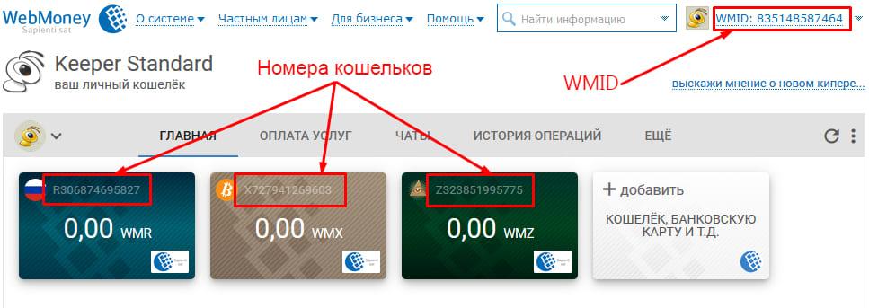 Номера кошельков WebMoney