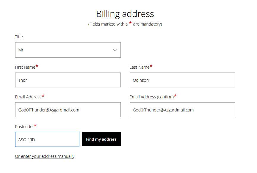 Billing adress